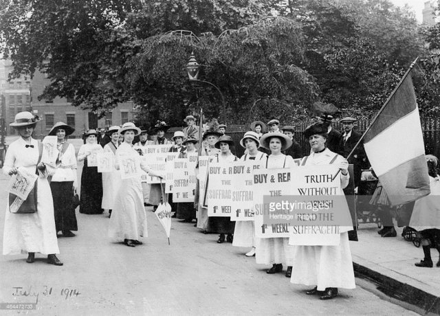 suffragettes-on-a-poster-parade-selling-the-suffragette-31st-july-picture-id464472733